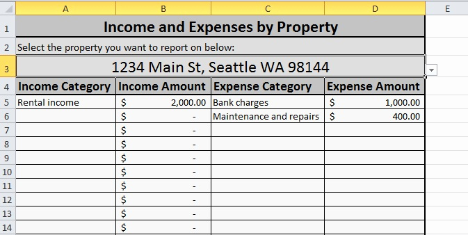 Rental Property Expenses Timesheet
