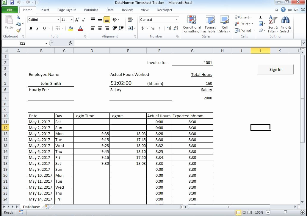 Sample Excel Timesheet with Data