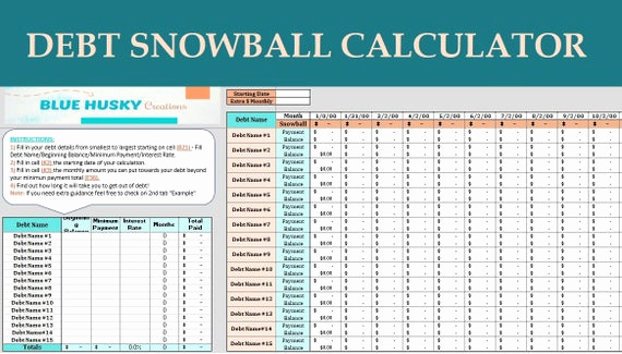 Snowball Credit Card Payoff Timesheet