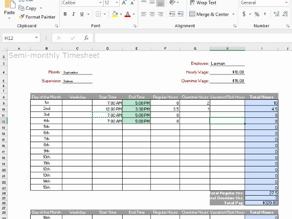 Time Tracking Timesheet Excel Free